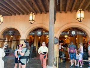 outdoor pirate-themed waiting area with arches Disney secrets