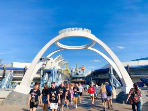white arched Tomorrowland entryway Disney secrets