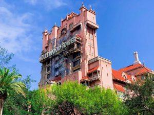 tall pink smoldering building Tower of Terror
