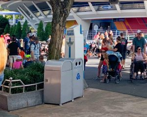 silver trash cans at Disney World Disney secrets