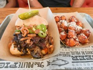 loaded burger with tater tots from Polite Pig