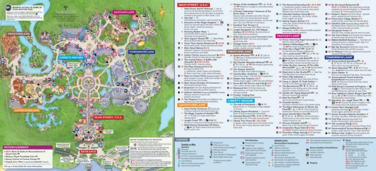 The official Magic Kingdom map at Disney World
