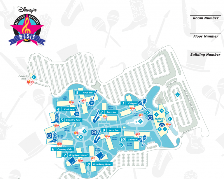 Disney World Resort Map Of All Star music