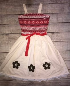 dress with red top and beige bottom Disney dresses for women