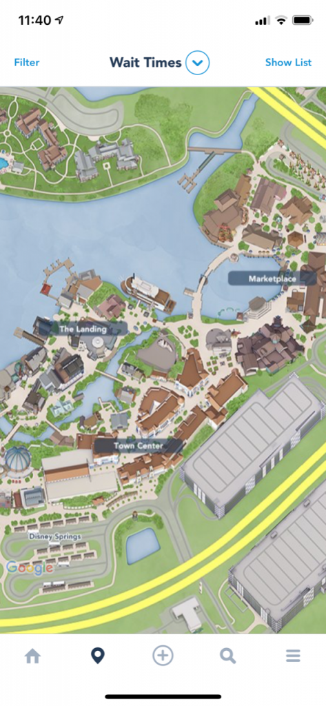 overview map of Disney Springs from My Disney Experience App