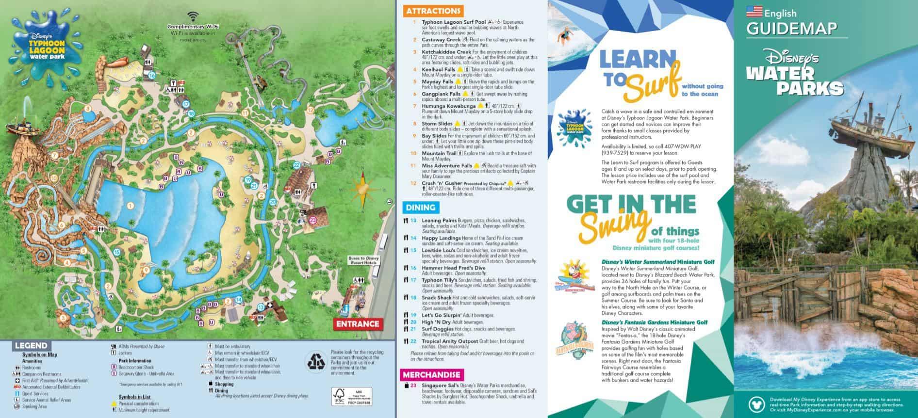 Map of Disney's Typhoon Lagoon Water Park