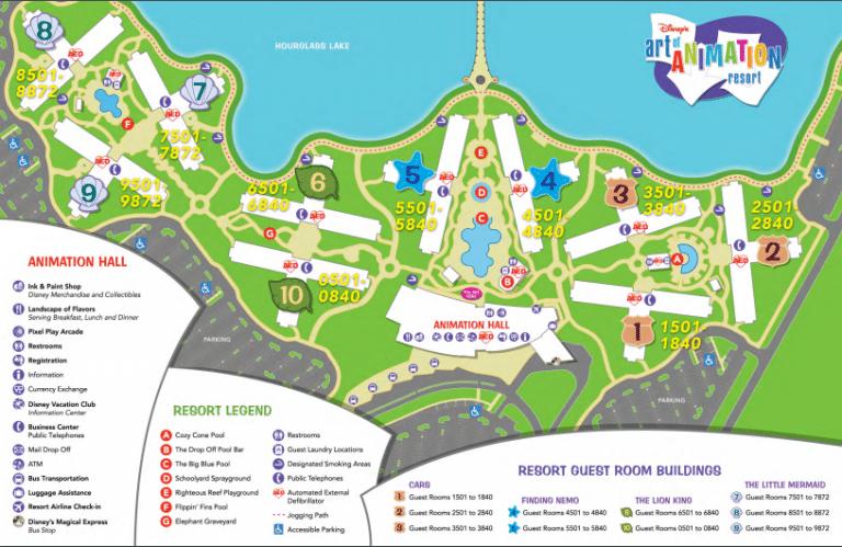 Art Of Animation map at Disney World resort