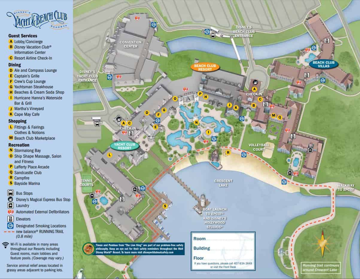 map of Disney's Yacht club resort and beach club villas