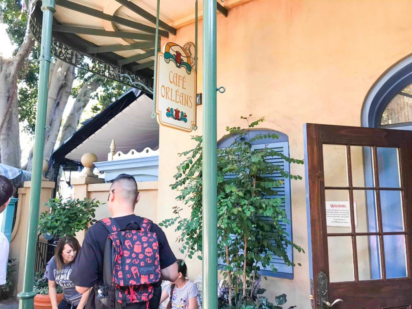 Outside Cafe Orleans, a great Disneyland restaurant to try