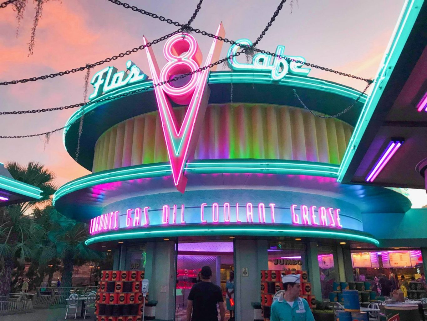 Flo's V8 Cafe, a neon fantastic restaurant in Disneyland California Adventure