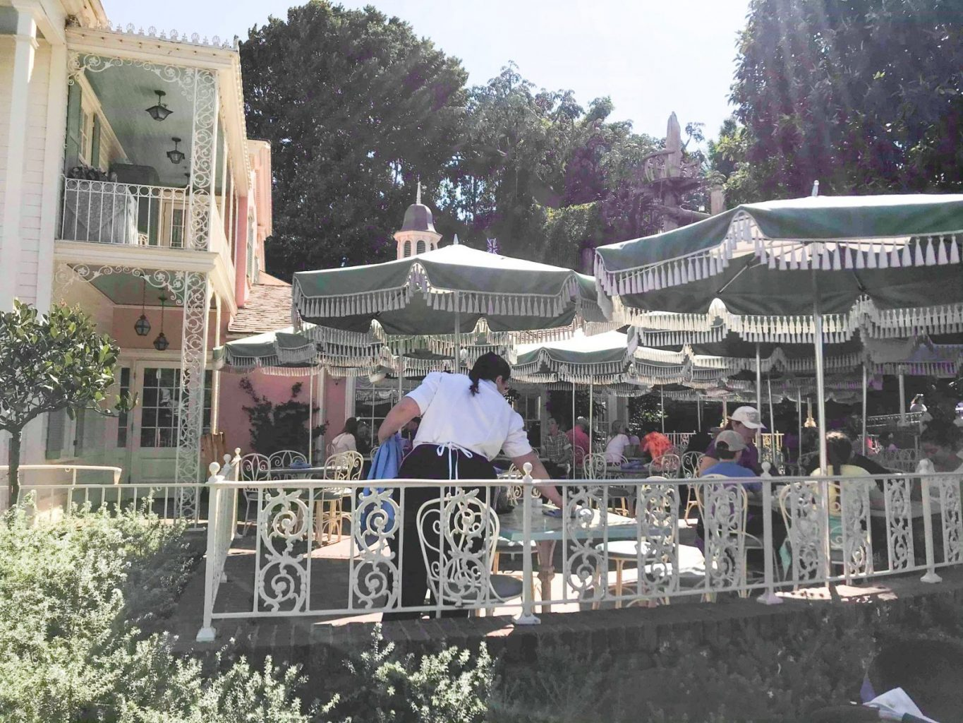 The veranda of River Belle Terrace, one the best Disneyland Restaurants