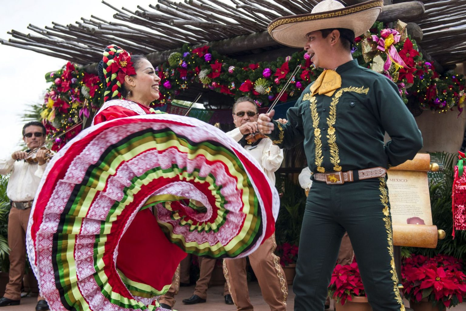Storytellers and dancers in Mexico at Epcot during Christmas