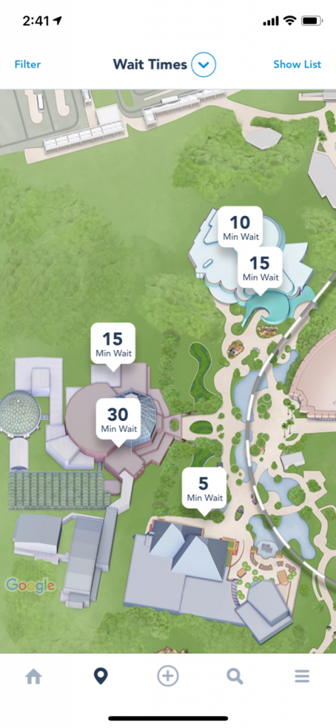 Epcot map showcasing Soarin