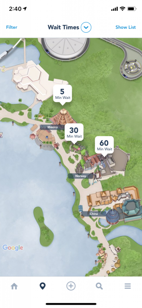 Epcot world showcase map zoomed in on the app for Disney