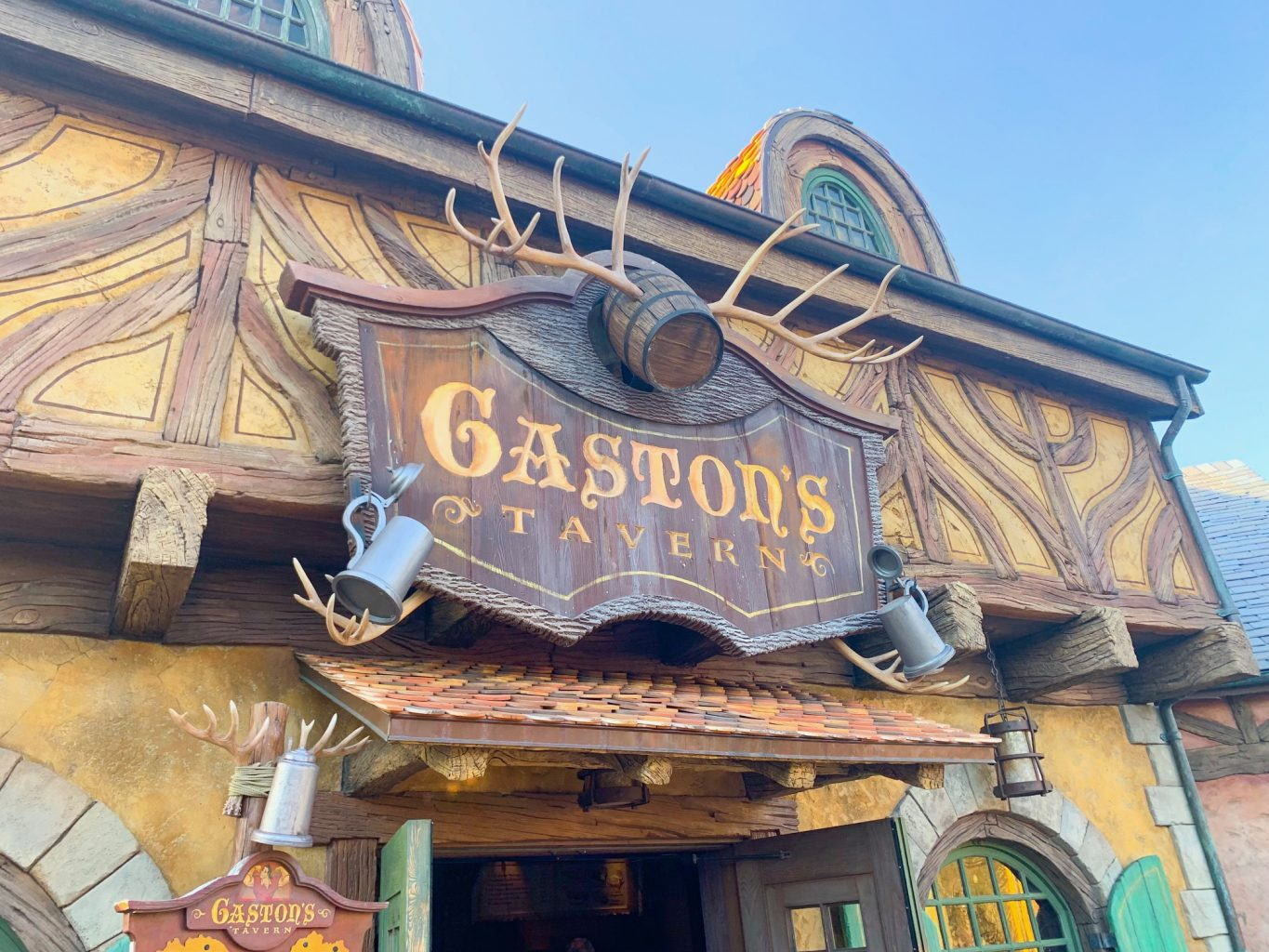 The entrance to Gaston's Tavern, a great counter service option in Magic Kingdom