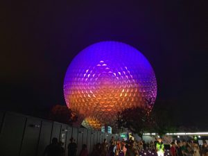 spaceship earth at night is one of the best Epcot fastpass options
