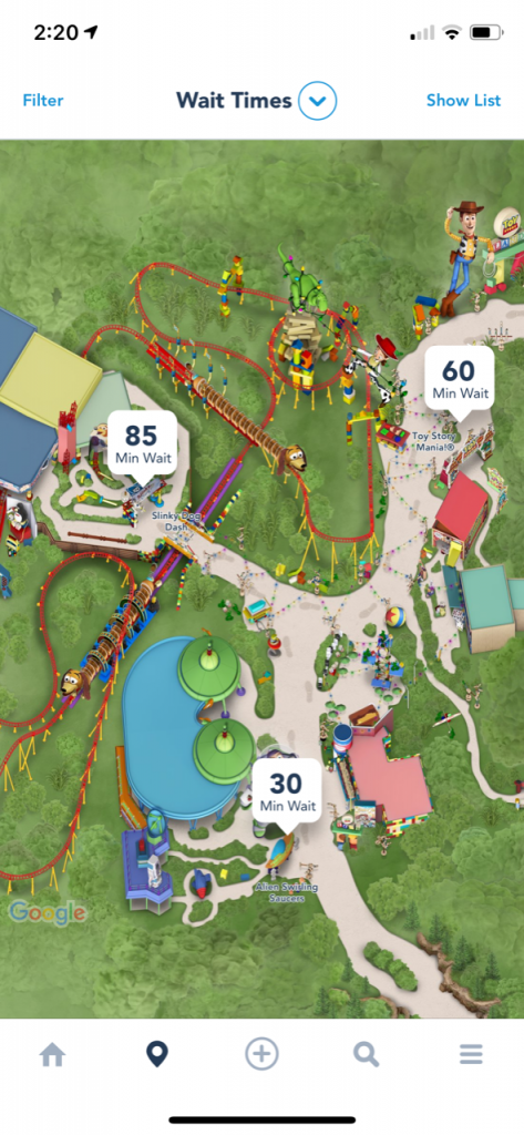 Hollywood studios map of Toy Story Land