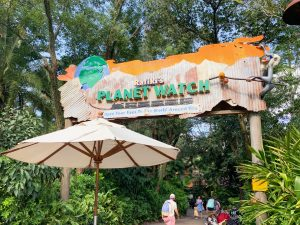 battered bright orange sign with globe for Rafiki's Planet Watch