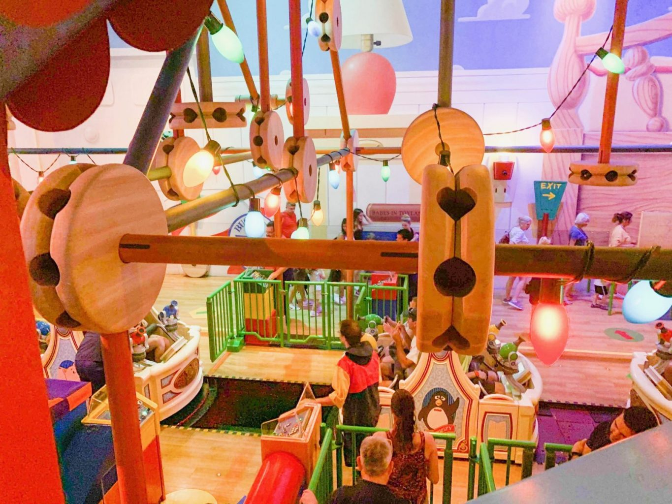 inside of Toy Story Midway Mania my favorite Disney World ride