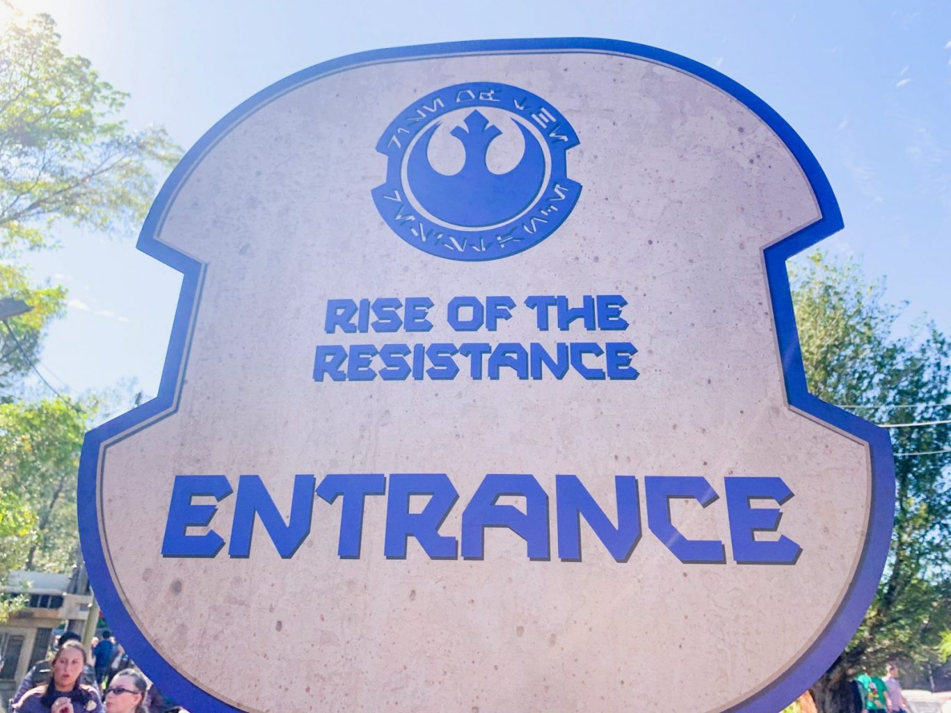 Sign for Star Wars Rise Of The Resistance entrance line