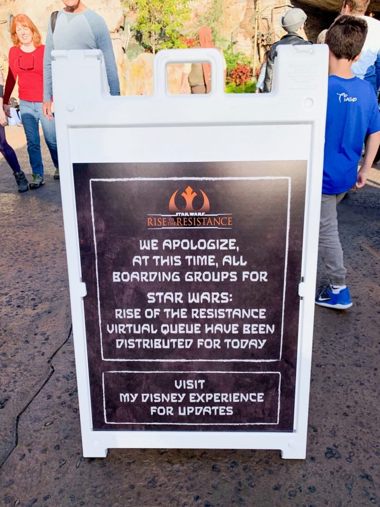 sold out sign at Rise Of The Resistance at Star Wars Land