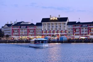 red and white buildings of Disney's BoardWalk free things to do at Disney World