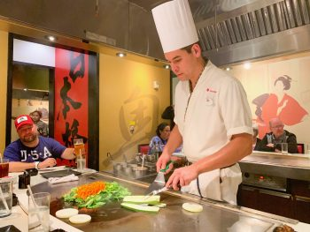 hibachi chef cooking vegetables at Epcot