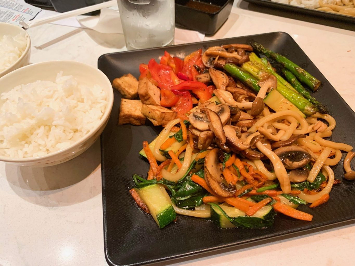 finished meal for vegans at teppan edo epcot