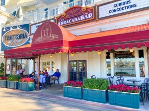 patio with cloth red roofing for AbracadaBar Disney Boardwalk