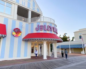 blue and white striped exterior of Jellyrolls