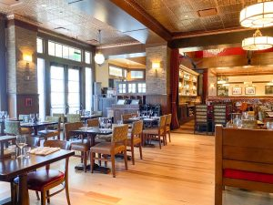 rustic, yet classy restaurant interior of Disney Boardwalk restaurant