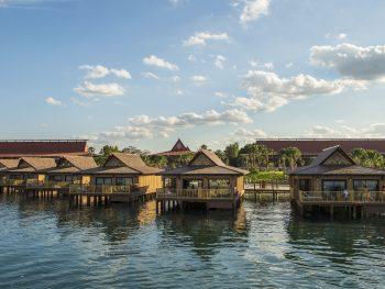 six island style bungalows over water Disney deluxe resorts
