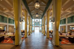 lobby with bright beachy vibes Disney World Resorts