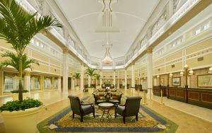 elegant lobby modeled after Southern plantation home