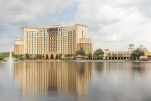 Latin-inspired building on lakefront Disney World Resorts