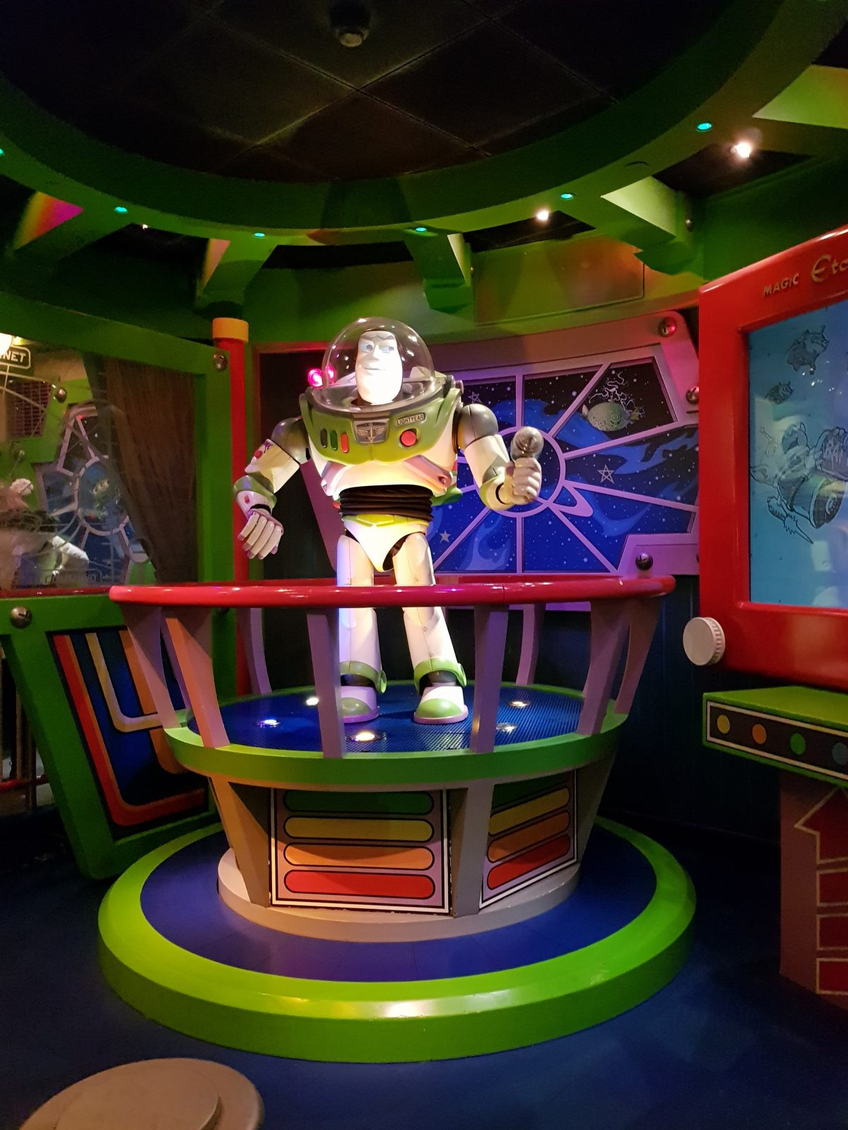 Buzz Lightyear giving the space cadets a briefing before the ride at Disneyland Paris