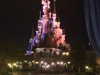 The Sleeping Beauty castle in Disneyland Paris at night
