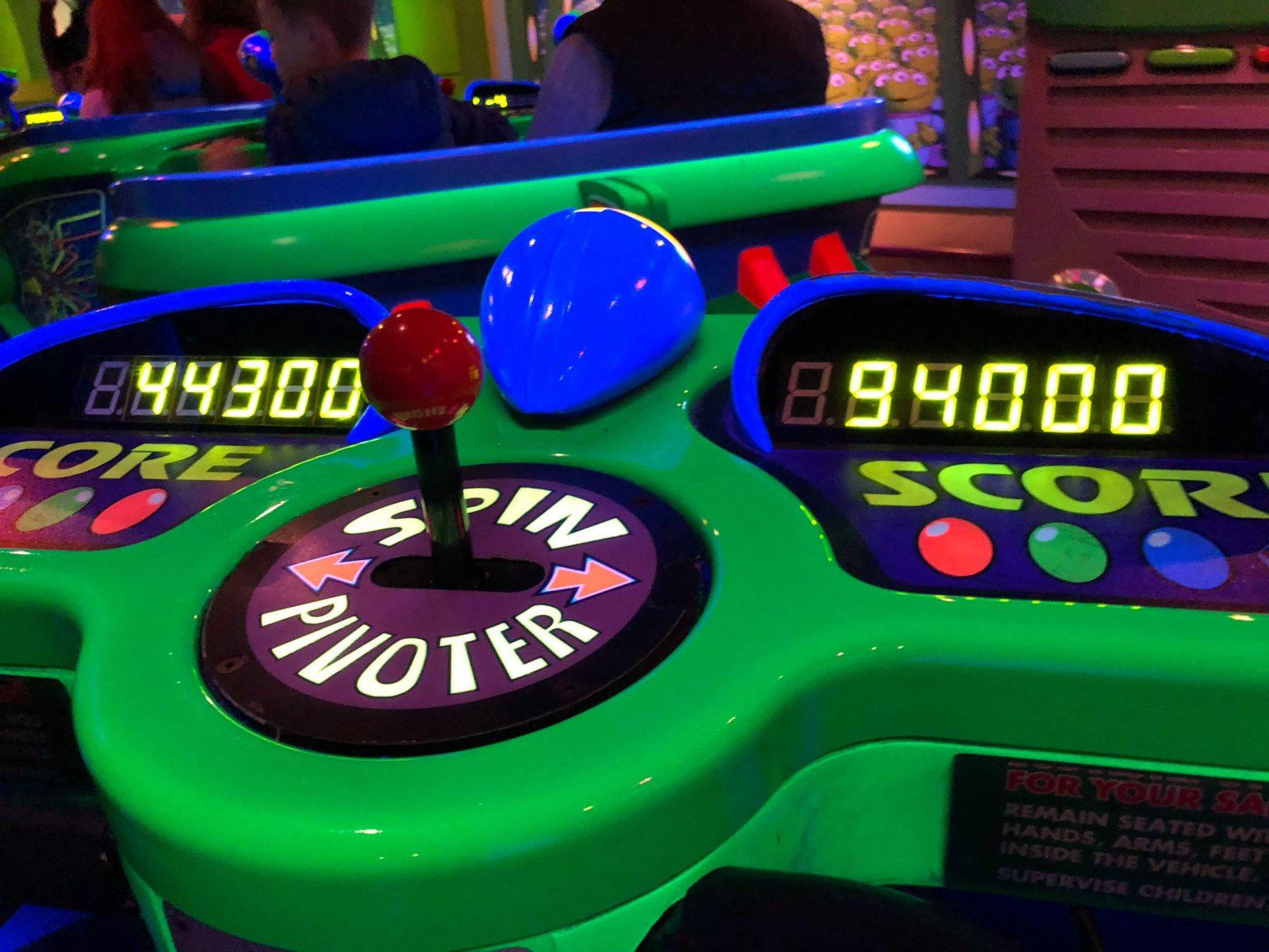 The score board on Buzz Lightyear's Laser Blast, one of the best Disneyland Paris rides