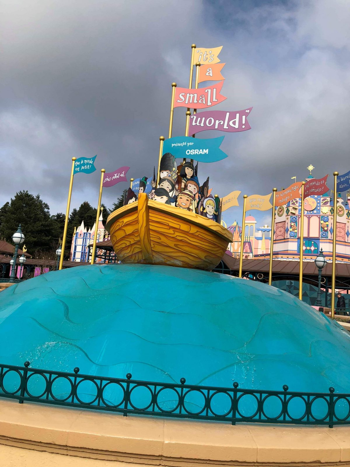 The outside of It's A Small World ride at Disneyland Paris