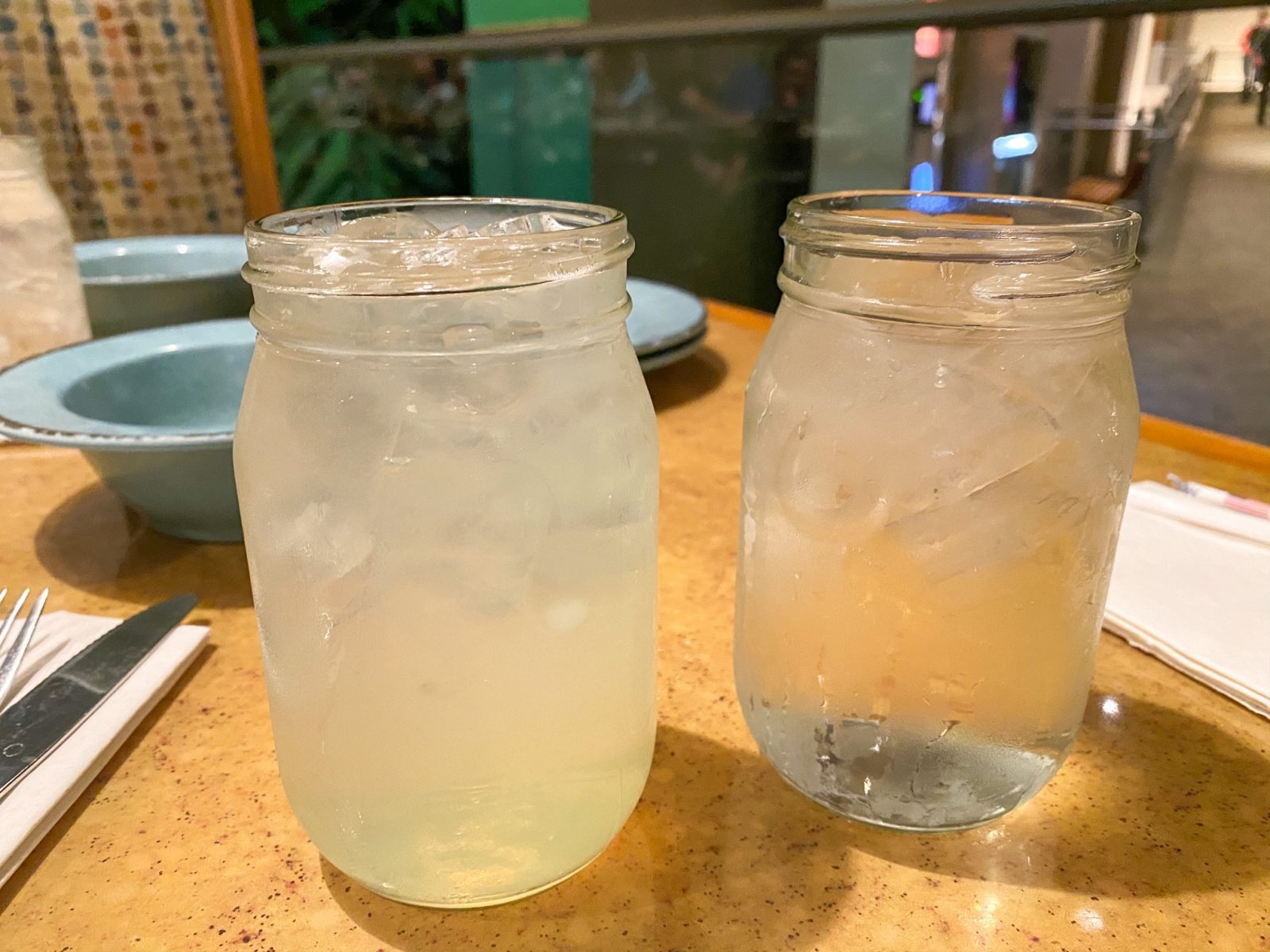 close up of lemonade and water in mason jars from Garden Grill