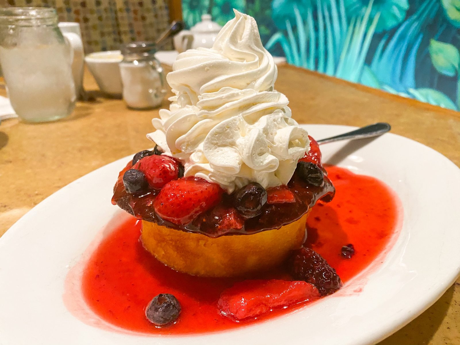 strawberry shortcake with whipped cream at Epcot