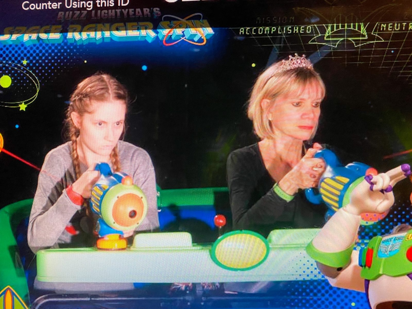 buzz lightyear ride photo with Linda Malys Yore and Victoria Yore