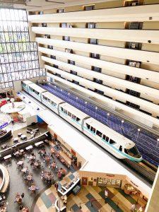 monorail going through Disney's Contemporary Resort