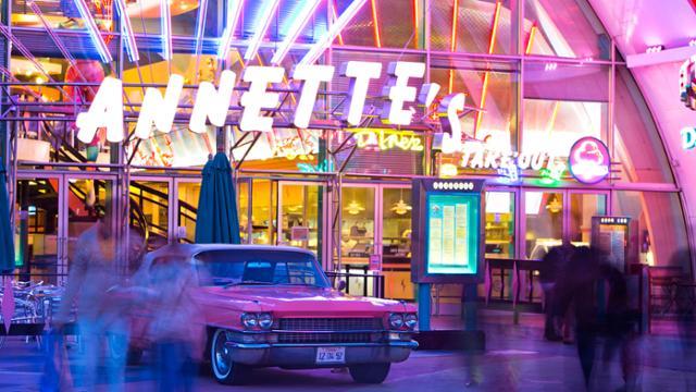 Outside Annette's Diner in Disney Village