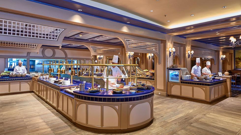 The buffet station inside Cape Cod in Disneyland Paris' Newport Bay Club