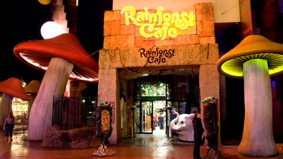 Outside the Rainforest Cafe in Disney Village