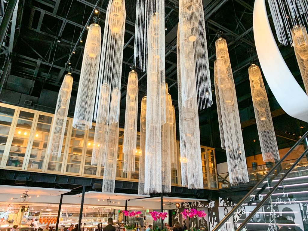 inside disney springs bar Morimoto Asia's forbidden loyunge light fixtures