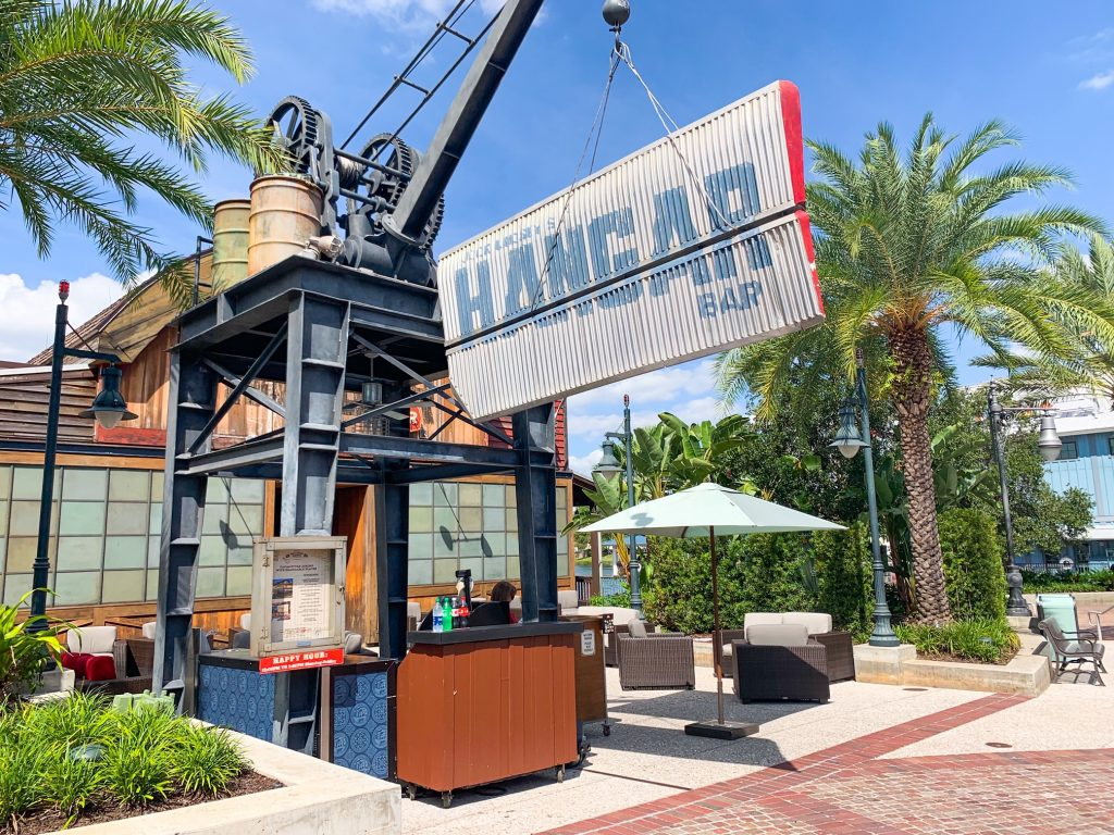 outside sign of Disney Springs bar Jock Lindsey's hangar bar