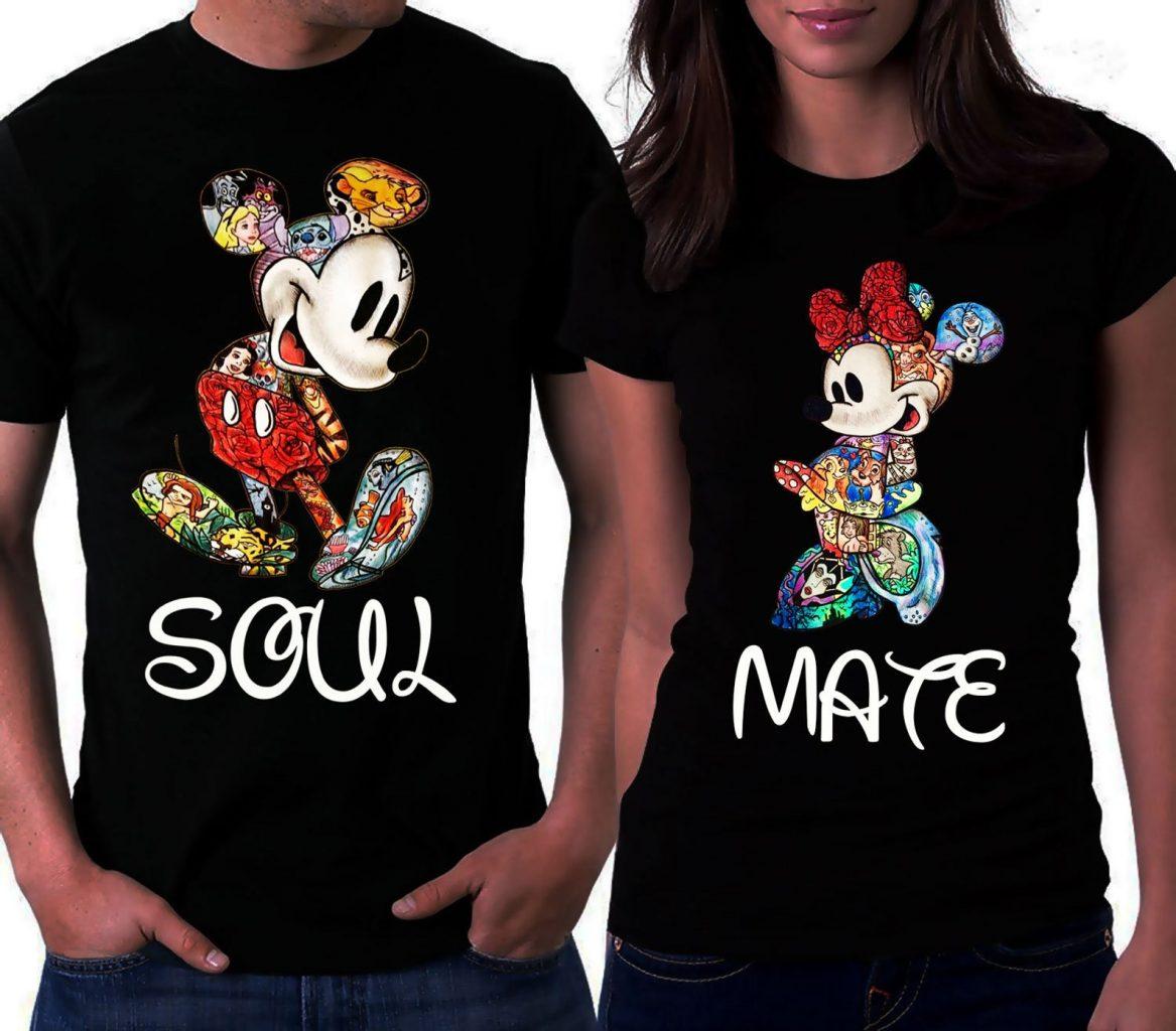 New His Angel Cute Disney Matching T-Shirts Unisex Black